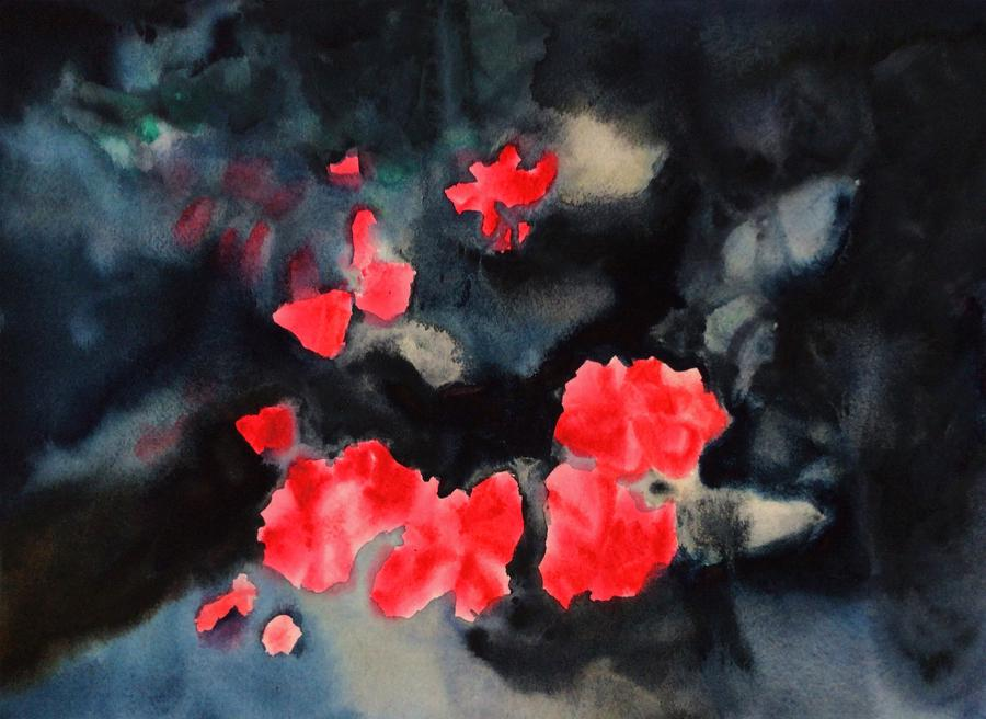 A watercolor and casein painting of a red flower and dark background